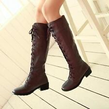 Vintage Roman Lace Up Womens Low Heel Retro Riding Boots Classic Knee High Boots