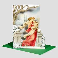 12 Madonna and Child Die-cut Christmas Cards with Green Envelopes XC0052