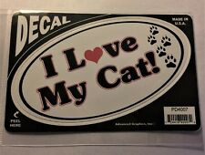 I Love My Cat Indoor/Outdoor Sticker - Made in Usa