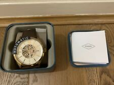 BNWT FOSSIL MENS AUTOMATIC SKELETON GOLD TONE BROWN LEATHER WATCH BQ2382