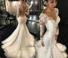 Sexy Ivory Mermaid Sweetheart Bridal Gown Wedding Dresses Lace Appliques Custom