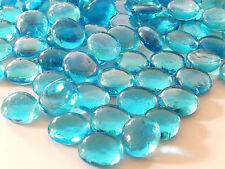 Round Glass Pebbles / Stones / Nuggets - Aqua Blue