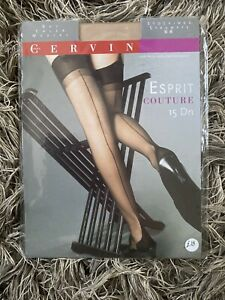 Vintage CERVIN Esprit Couture seamed stockings, Nude, Size 3