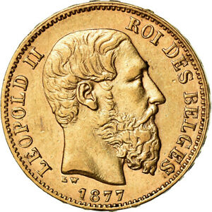 [#870174] Coin, Belgium, Leopold II, 20 Francs, 20 Frank, 1877, AU(50-53), Gold