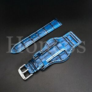 22 MM Vintage Royal Blue Leather Alligator Crocodile Watch Band Strap Bund 2021
