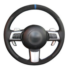 DIY Steering Wheel Cover Black Suede Leather Hand Sewing For Mazda MX-5 09-13