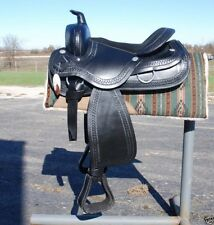 """4024 New 15"""" BLACK draft horse western saddle 10"""" gullet by Frontier -THE BEST"""