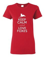 Ladies Keep Calm and Love Foxes Wildlife Animal Lover Fox Lover T-Shirt Tee