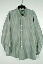 Vintage J Crew Men's Green Striped Button Down Long Sleeve Dress Shirt  17.5/34