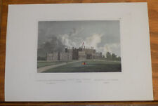 c1850s Antique COLOR Print///EATON HALL, CHESHIRE, ENGLAND
