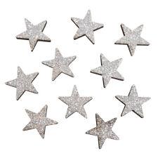 10 Holz Streuteile Sterne silber Streudeko Winter Deko Holzsterne Weihnachtsdeko