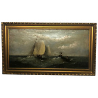 19th Century Marine Oil Painting Dutch Shipping In A Swell By Harry J Williams