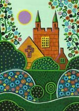 5x7 FOLK ART PRINT OF PAINTING RYTA CHURCH TREES EASTER ABSTRACT FOLK ART HOUSE
