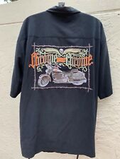 HARLEY DAVIDSON CHROME SWEET CHROME BARBED WIRE MOTORCYCLE EMBROIDERED SHIRT XL