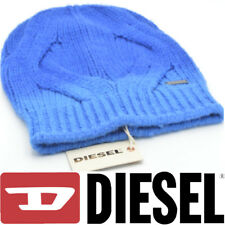 DIESEL M-Acri Berretto Unisex Knitted Beanie Hats Blue Metal Logo Made In Italy