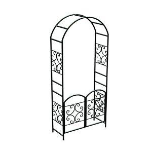 Garden Arch With Gates Black Steel 228cm High 99cm wide
