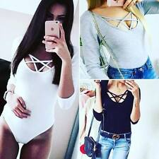 Womens Long Sleeve Sexy Scoop Neck Bodysuit Stretch Ladies Leotard Tops Jumpsuit