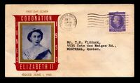 Canada 1953 Coronation FDC / Nice Cachet / Light Creasing - L12397