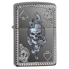 "Zippo ""Ace of Spades-Skull"" Black Ice Finish Lighter, Armor, Deep Carved, 29666"