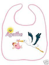 Bavoir bébé blanc bordure rose réf F03 personnalisé avec prénom