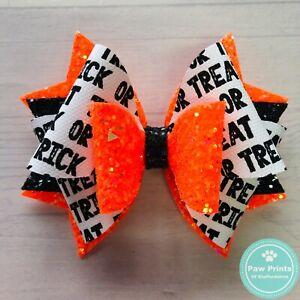 "Halloween Stacked Glitter Hair Bow - Neon Orange, Black & White  3.5"" Hair Clip"