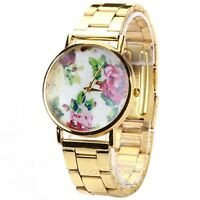 Neu Uhr Rose Blumen Design Rosen Golden Strass Damenuhr Armbanduhr Watch