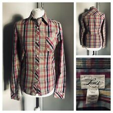 LEVIS Ladies Pink Green Yellow Check Long Sleeve Shirt Size SMALL Approx UK 8