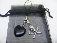 Natural Black Obsidian Heart & Skull & Crossbones Mobile Phone / Handbag Charm