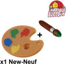 Lego - 1x Minifig utensil pinceau paint brush + palette peinture 93552pb01 NEUF