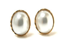 9ct Gold Pearl oval Stud earrings Gift boxed Made in UK Valentine