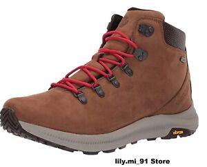 NEW Merrell Ontario Mid Waterproof Hiker Dark Earth Brown Leather Men's Boots