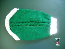 Green and white sweater for dogs-size Small-handknit in USA