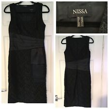Nissa Black Sparkly Dress With Bow Belt Size 8 Eur 36 (A343)