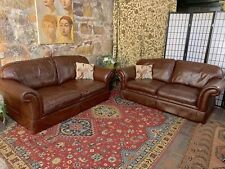 Pair Vintage Chesterfield Leather Laura Ashley 2 Seat Lounge Chairs~Rich Brown