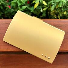 Matte Gold Pocket Stainless Steel Amp Metal Business Card Holder Case Id Credit