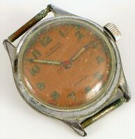 VINTAGE ALPROSA RED ORANGE FACE SWISS MILITARY WATCH WRISTWWATCH PARTS REPAIR !