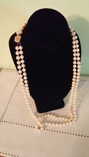 Vintage 8 mm Faux Pearl Double Strand Gold Clasp Pearls Necklace 28 inches Long