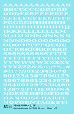 K4 HO Decals White 3/16 Inch Penn Roman Letter Number Alphabet Set
