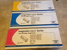 Lot 3 Minolta Konica Magicolor 2300 Toner Ink Yellow Magenta Red Cyan Blue NEW