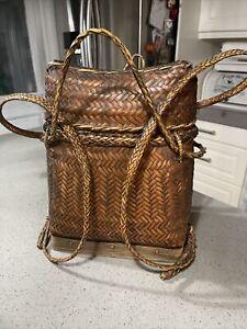 vintage phillipino wicker backpack Basket