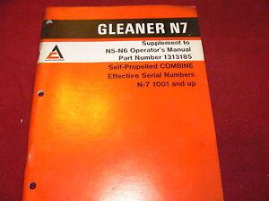 Allis Chalmers N7 Gleaner Combine Operator's Manual