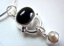 Black Onyx & Dangling Pearl 925 Sterling Silver Pendant