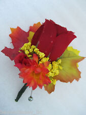 Fall Wedding Groom Dewdrop Rose Flower Boutonniere Autums Leaves RED ORANGE