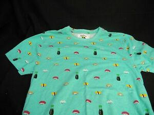 WOMEN'S BLIND ROOSTER SUSHI T-SHIRT SIZE 2 MADE IN INDIA MINT WASABI GREEN