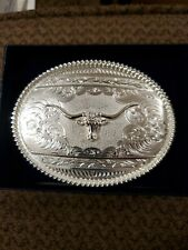 Montana Silversmith Sterling Silver 4 X 3 buckle with longhorn
