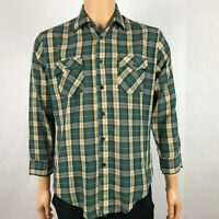 Vtg Bradlees Mens Long Sleeve Button Down Plaid Shirt Western Wear Green Size M