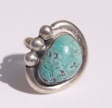 TURQUOISE Heart Stone Sterling Silver Vintage Ring Size 4.5