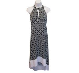 LAUNDRY HALTER Dress Size M Medium Jersey Knit BLACK White Party Strappy