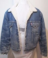 Levis Blue Denim Sherpa Work Jacket Faded Distressed Actual 44 tag 46R USA Made
