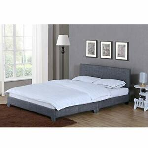 Vida Designs Victoria Double Bed, 4 ft 6 Bed Frame Upholstered Fabric Headboard
